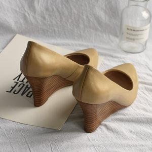 韩版2018秋季新款女鞋浅口真皮尖头<span class=H>高跟鞋</span>裸色坡跟单鞋女33小码鞋