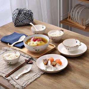 秋韵 日式手绘陶瓷碗盘<span class=H>餐具</span>套装 创意家用碗碟瓷器套装结婚送礼