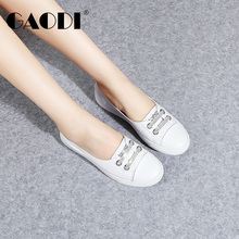 Goldie 2019 Fresh White Shoes Women's Summer Style with Skirt, Leather Permeable Flat-soled Women's Shoes with One Foot on Leisure Boat Shoes