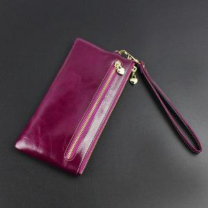 伊米女式时尚信封包钱包女超薄长款迷你真皮手机包油蜡皮小手包