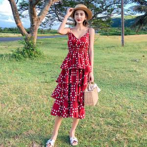 巴厘岛沙滩裙女海边度假裙红色波点雪纺<span class=H>连衣裙</span>女夏泰国普吉岛裙子