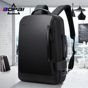 BOPAI博牌电脑背包男户外旅行休闲双肩包商务书包出差多功能男包