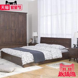 北欧纯实木简约箱体床白橡木全实木低箱双人床1.5/1.8m床卧室家具