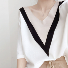 Elegant commuter V-neck knitted sweater for women in summer 2019