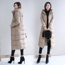 Winter new women's clothes Korean version of self-cultivation fashion long down cotton jacket longer than knee size thick cotton jacket women's jacket