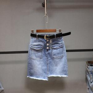 夏季不规则牛仔裙女新款流苏单排扣弹力包臀裙2019百搭短裙半身裙