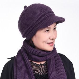 中老年帽子女秋冬天妈妈帽加绒加厚<span class=H>毛线帽</span>冬季兔毛针织保暖老人帽
