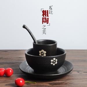 推荐手工土碗粗陶陶碗陶土碗土陶碗粗瓷碗黑釉陶瓷面碗米饭碗包邮