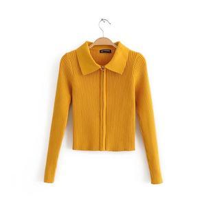 欧美polo领毛针织衫女<span class=H>开衫</span>拉链短款长袖空调衫紧身百搭T恤两用衫