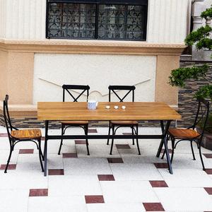 美式复古长方形实木铁艺<span class=H>餐桌</span><span class=H>住宅</span><span class=H>家具</span>办公酒吧餐饮咖啡桌椅会议桌
