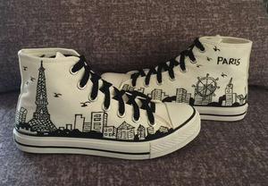 正品回力V-4056高帮<span class=H>帆</span>布手绘鞋男女情侣鞋涂鸦学生板鞋埃菲尔铁塔