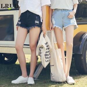 LRUD牛仔裤女2017夏装新款<span class=H>韩版</span>高腰<span class=H>破洞</span>牛仔<span class=H>短裤</span>黑色宽松阔腿热裤