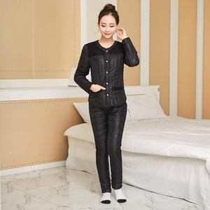 新款冬季女士棉内胆套装 修身短款羽绒棉长袖内衣裤两件套家居服