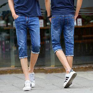香港代购夏季薄款弹力牛仔<span class=H>短裤</span>男装七分裤弹性修身小脚青年韩版潮