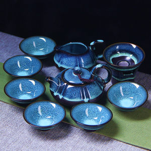整套<span class=H>陶瓷</span>天目油滴蓝珀釉盖碗功夫茶具窑变建盏套装品茗杯茶杯茶壶