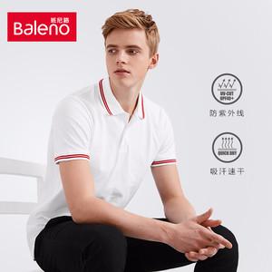 Baleno<span class=H>班尼路</span> 青年复古polo衫男 撞色条纹翻领保罗衫短袖t恤男