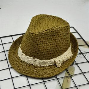 新款夏季爵士帽子白丝带遮阳沙滩小<span class=H>礼帽</span>男士<span class=H>硬</span>质镂空草帽