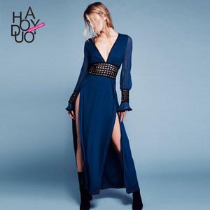 Haoduoyi冷淡风ins女生 性感<span class=H>V领</span>露背蕾丝<span class=H>花边</span>开叉长袖<span class=H>连衣裙</span>女