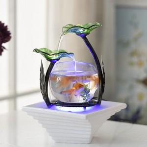 家居小型客厅<span class=H>鱼</span>缸流水电视柜摆件陶瓷喷泉桌面加湿器创意生日礼物