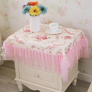 布艺田园床头柜盖布防尘罩床头柜套床头柜罩蕾丝桌布台布万能<span class=H>盖巾</span>