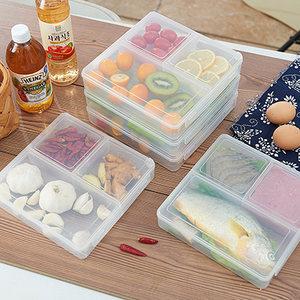 日式三格保鲜盒密封冰箱收纳盒 微波餐盒水果盘快餐饭盒 <span class=H>便当盒</span>