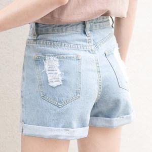 孜索2017夏季新款牛仔裤高腰<span class=H>破洞</span>浅色卷边<span class=H>短裤</span>女百搭<span class=H>韩版</span>AA热裤