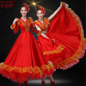新款民族舞蹈表演<span class=H>服装</span>成人大合唱舞台装开场舞大摆裙演出服女长裙