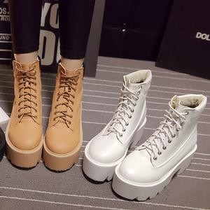 韩国明星新款圆头厚底松糕系带绑带高跟朋克粗跟马丁女靴<span class=H>短靴</span>女鞋