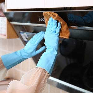 冬季洗碗<span class=H>手套</span>女家用洗衣服加厚加绒耐用防水家务加长厨房胶皮<span class=H>手套</span>