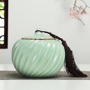 汝窯陶瓷<span class=H>茶葉罐</span>密封存儲茶罐子開片普洱紅綠散防潮大號茶葉包裝盒