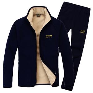 冬款<span class=H>抓绒</span>衣男套装保暖摇粒绒外套加绒加厚夹克休闲运动<span class=H>衣裤</span>