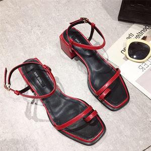 2019新款韩版简约百搭显瘦一字式扣带套趾中跟粗跟<span class=H>凉鞋</span>女鞋子夏季