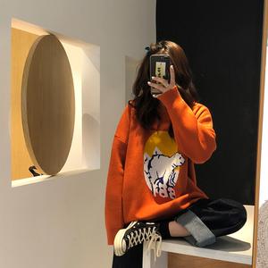 加厚chic印花套头长袖毛衣2019春季新款女韩版百搭学院风针织衫潮