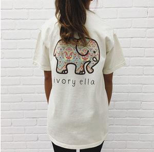 韩版女装 秋季可爱大象印花宽松圆领短袖女<span class=H>T恤</span>新款
