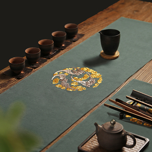 新中式刺绣禅意茶席 棉麻布艺茶桌茶盘垫子桌布 桌旗隔热功夫茶具