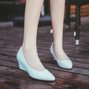 5cm新款白色护士鞋女坡跟工装单鞋工作鞋浅口舒适黑色<span class=H>高跟鞋</span>皮鞋