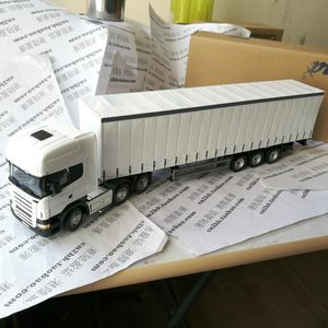 斯堪尼亚SCANIA白色货<span class=H>车模</span>型拖卡车头掀起货柜轮可转向合金比例50