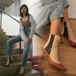 真皮短靴女春秋冬季单靴2019新款百搭细跟高跟鞋英伦风<span class=H>靴子</span>马丁靴