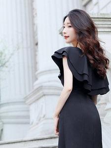 晚<span class=H>礼服</span>裙女2019夏季新款黑色中长款派对连衣裙洋装显瘦宴会小黑裙
