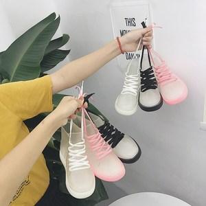 韩版学生时尚百搭透明短筒雨鞋女户外防滑果冻胶鞋系带<span class=H>雨靴</span>水鞋潮