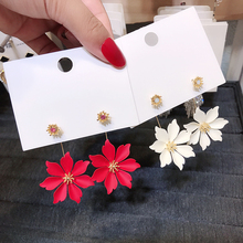 South Korea Summer New Temperament Holiday Wind Big Flower Eardrops Women Personality Two S925 Silver Needle Super Immortal Earrings