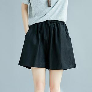 EZY大码夏200斤<span class=H>女装</span>棉麻宽松短裤胖mm百搭显瘦<span class=H>阔腿裤</span>松紧高腰加肥