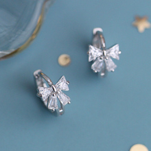 Small Z Superior 925 Silver Simple Earrings Sweet Butterfly Tie Earrings Small Earrings Temperament Smaller Earrings Gift