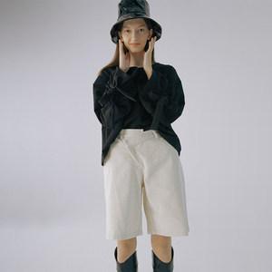 白色灯芯绒立体剪裁阔腿<span class=H>中裤</span>JIAXINXU原创独立设计师品牌秋冬新品