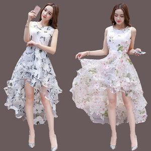 夏季新款时尚无袖气质名媛欧根纱燕尾蓬蓬<span class=H>连衣裙</span>超仙伴娘礼服长裙