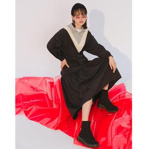 LOVEHEYNEW2018新款韩版个性松紧腰修身休闲运动风长袖<span class=H>连衣裙</span>女冬