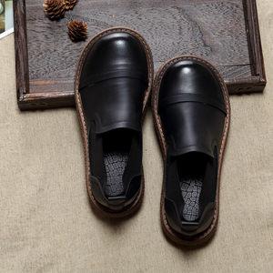 包邮春季日系森女单鞋厚底套脚擦色做旧休闲鞋文艺复古大头娃娃鞋