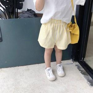 斑斑家童装小清新竖条纹男童<span class=H>短裤</span>2018新款夏装薄款儿童休闲热裤