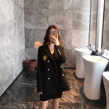 New British Academy Style Black Double-breasted Leisure Loose Korean Small Suit for Women in Spring 2019