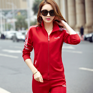 大红色团体活动运动套装女春秋季中年跑步休闲<span class=H>运动服</span>团购运动装女